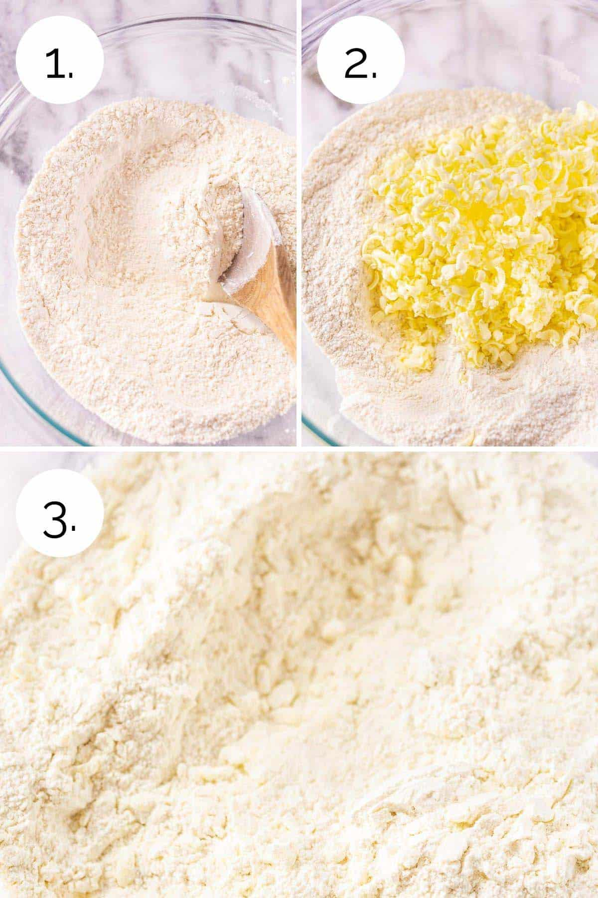 Mixing the dry ingredients and grated butter together in a large mixing bowl.