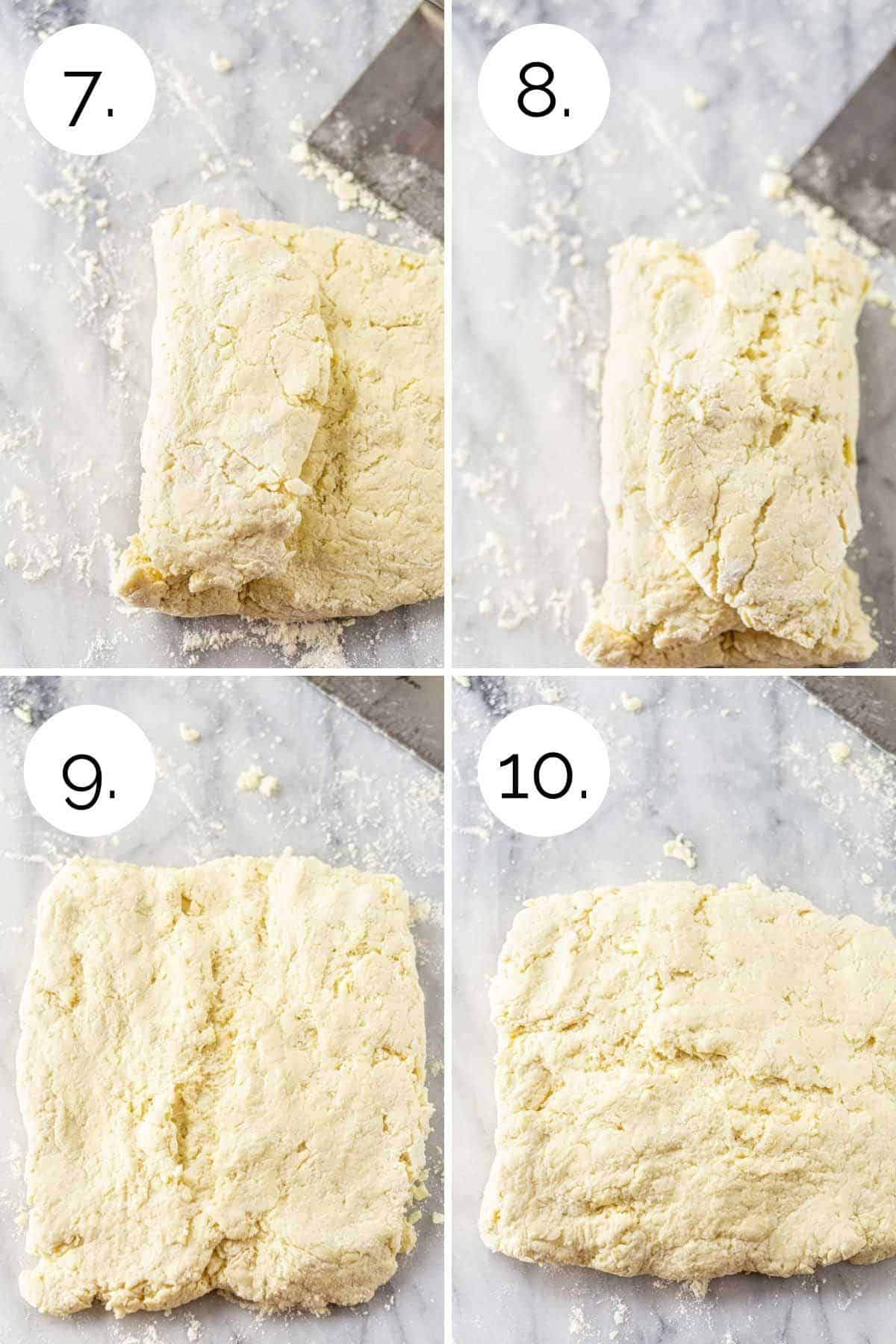 Showing the process of folding the dough like a letter on a pastry board.