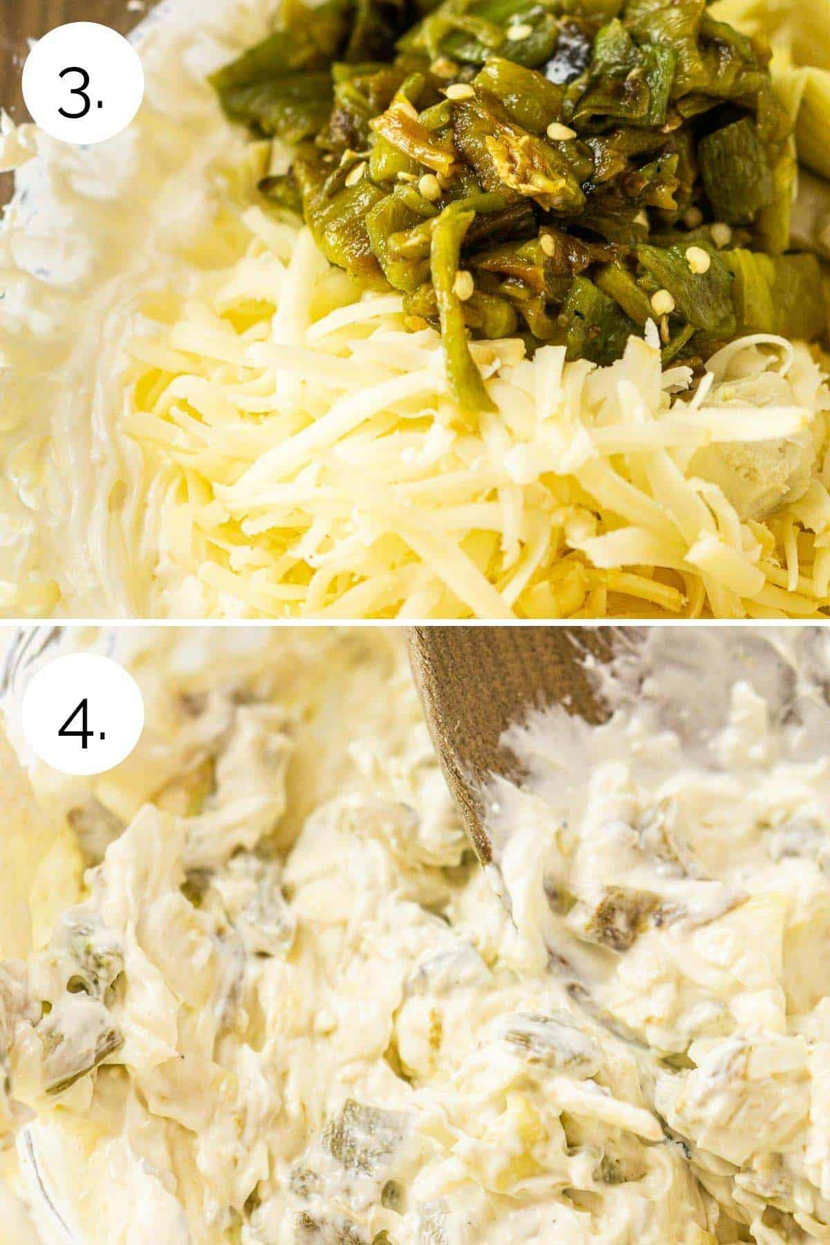 Mixing in the additional ingredients into the cream cheese.