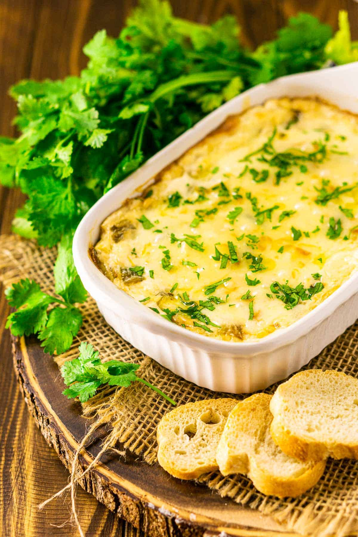 The green chile dip with a bundle of cilantro behind it and bread to the side.