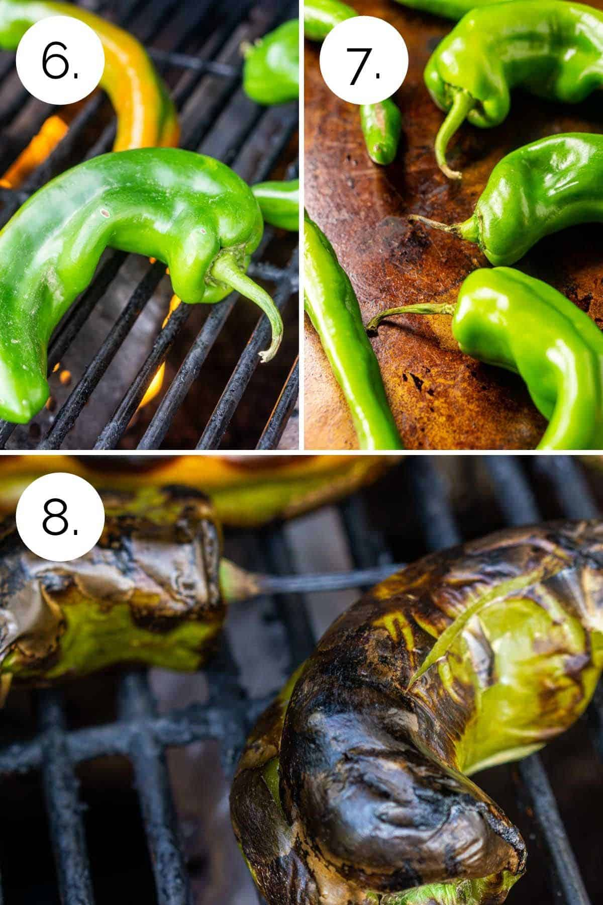 Showing the process of roasting the green chiles.