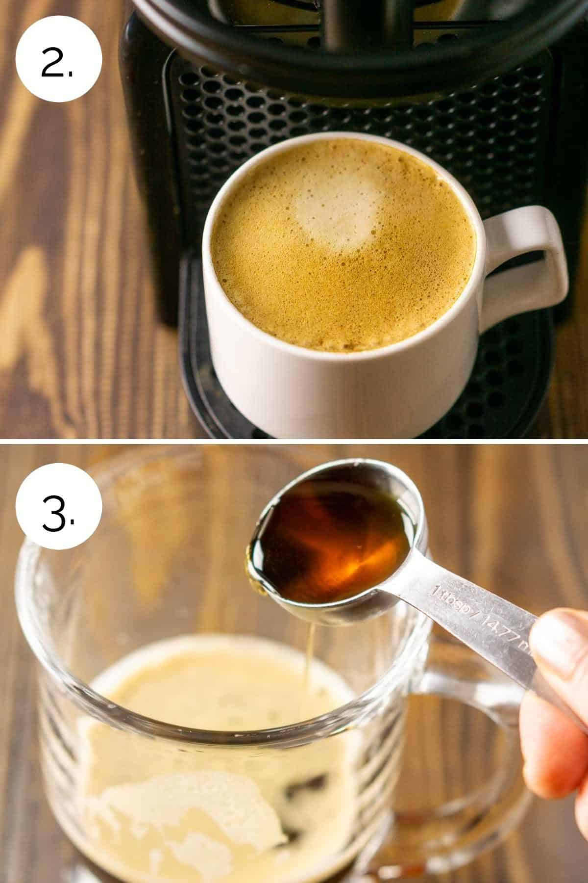 A collage showing the process of making the espresso and mixing it with the maple syrup.